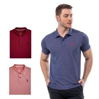 Kit 3 Camisas Polo John Pull Lisa Algodão Moderna Casual