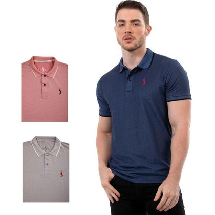 Kit 3 Camisas Polo John Pull Lisa Moderna Masculina