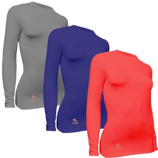 Kit 3 Camisas Térmicas Feminino Stigli Pro Proteção Solar FPU 50 Manga Longa Colorful B