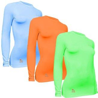 Kit 3 Camisas Térmicas Feminino Stigli Pro Proteção Solar FPU 50 Manga Longa Colorful F