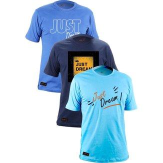Kit 3 Camiseta Gola Redonda Unissex Estampada Just Dream