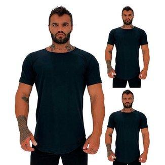 Kit 3 Camiseta Longline MXD Conceito Slim Cores Básicas e Mescladas Lisas