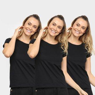 Kit 3 Camisetas Básicos K013 Feminina