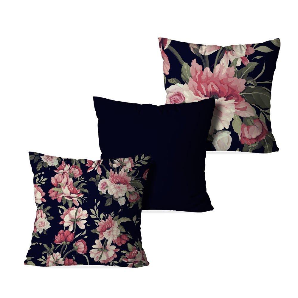 2513e63ed Kit 3 Capas para Almofadas Decorativas Flowers Black - Compre Agora ...