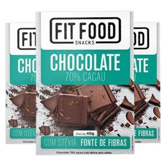 Kit 3 Chocolate 70% cacau adoçado com Stévia Fit Food