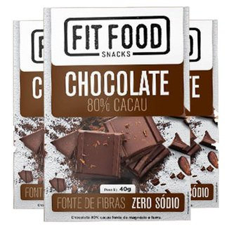 Kit 3 Chocolate 80% Cacau Fit Food