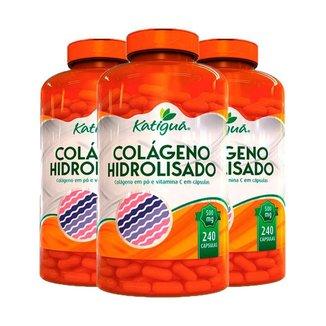 Kit 3 Colágeno Hidrolisado com Vitamina C - 240 Cápsulas - Katiguá