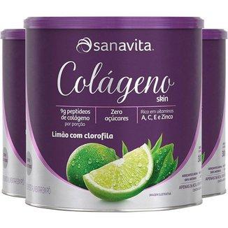 Kit 3 Colágeno Hidrolisado Em Pó Limão + Clorofila Sanavita 300g