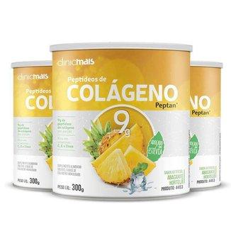 Kit 3 Colágeno Hidrolisado Peptan 9g Clinic Mais Abacaxi com Hortelã