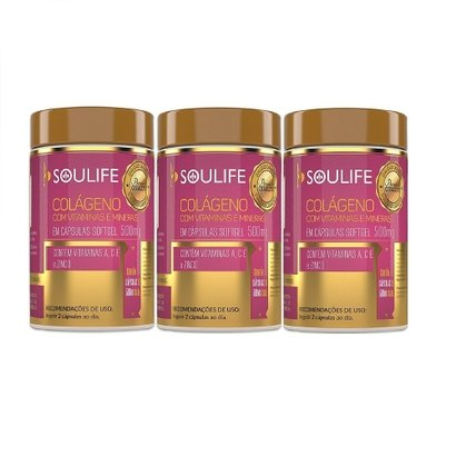 Kit 3 Colágeno + Vitaminas 500mg 60 Cáps Soulife