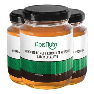 Kit 3 Composto de Mel sabor Eucalipto Apisnutri 300g