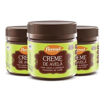 Kit 3 Creme De Avelã Flormel Crocante Zero açúcar 150g