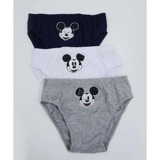 Kit 3 Cuecas Infantil Estampa Mickey Disney Tam 4 A 10 - 10048483087