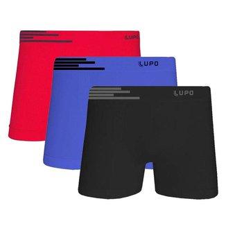 Kit 3 Cuecas Lupo Boxer Microfibra Sem Costura