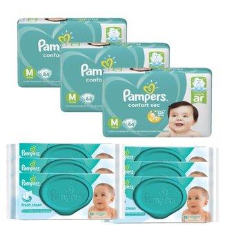 Kit 3 Fralda Pampers Confort Sec Tamanho M com 132 unidades + 6 Toalhinhas Pampers Umedecidas