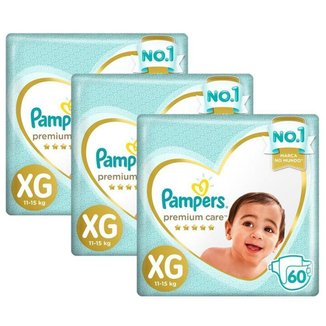 Kit 3 Fralda Pampers Premium Care Jumbo Tamanho XG 180 Unidades