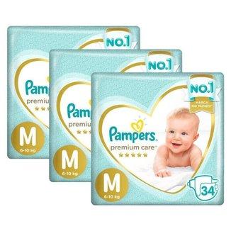 Kit 3 Fralda Pampers Premium Care Mega Tamanho M 102 Unidades