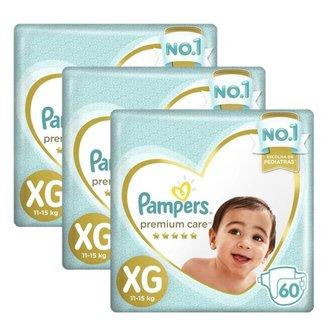 Kit 3 Fralda Pampers Premium Care Nova Jumbo Tamanho XG 180 Unidades