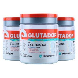 Kit 3 Glutadop L-Glutamina Elemento Puro 300g