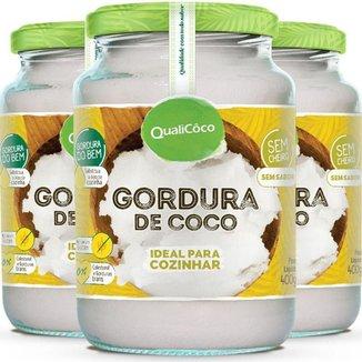Kit 3 Gordura de coco pote Qualicôco 400g
