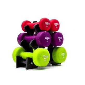 Kit 3 Halteres Sextavados Peso Academia Fitness + Suporte 12kg