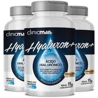 Kit 3 Hyaluron+ Ácido hialurônico 30 cápsulas ClinicMAIS