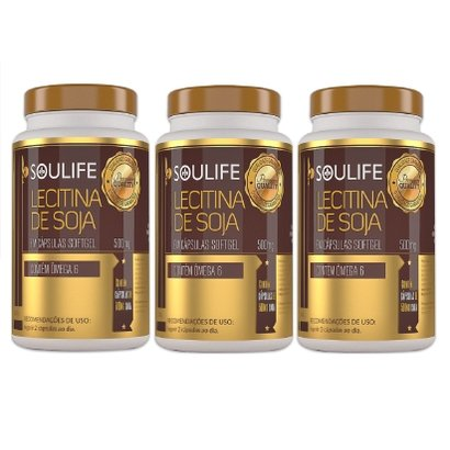 Kit 3 Lecitina de Soja 500mg 120 Cáps Soulife