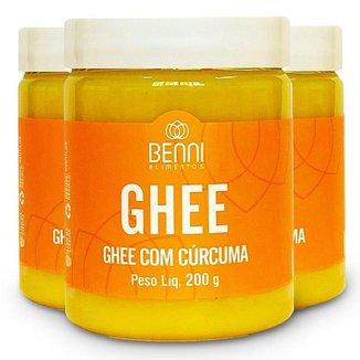 Kit 3 Manteigƌ Ghee com Curcuma 200g Benni Alimentos
