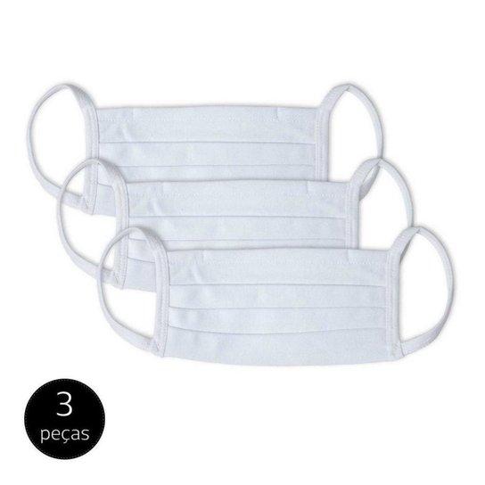 Kit 3 Máscara de Proteção Adulto em Algodão Lavável Mash - Branco