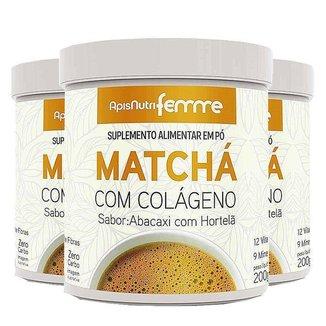 Kit 3 Matcha Solúvel Apisnutri Femme 200g Abacaxi com Hortelã
