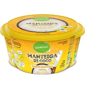 Kit 3 Maŋteiga de coco natural com sal Qualicoco 200g
