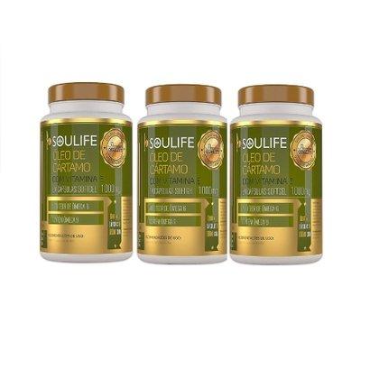 Kit 3 Óleo de Cártamo Com Vitamina E 1000mg 60 Cáps Soulife