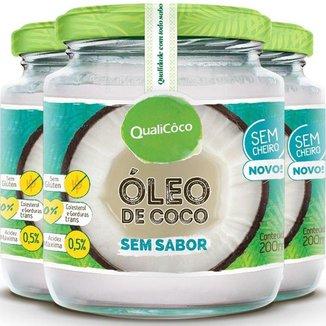 Kit 3 Óleo de coco sem sabor Qualicôco 200ml