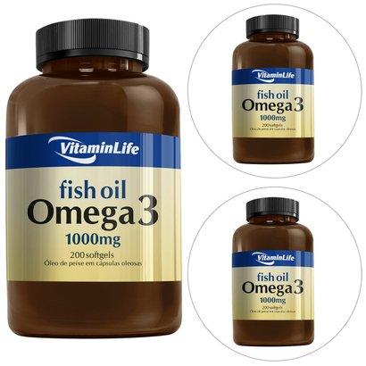 Kit 3 Ômega 3 1000 mg 200 Cápsulas - Vitaminlife