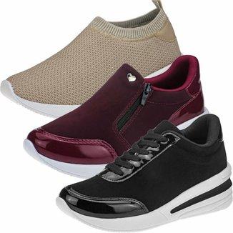 Kit 3 Pares Tênis Sneaker GiGiL Anabela Feminino