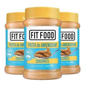 Kit 3 Pasta de Amendoim Integral Fit Food 450g - Crocante