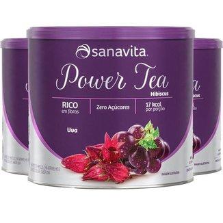 Kit 3 Power Tea Chá Hibiscus Uva 200g Sanavita