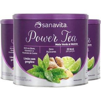Kit 3 Power Tea Mate Verde & Matchá limão com gengibre 200g Sanavita