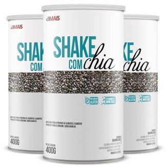 Kit 3 Shake com chia Chá Mais 400g Baunilha
