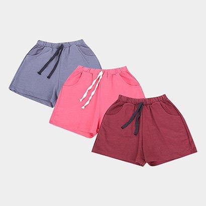 Kit 3 Shorts Basicos Feminino