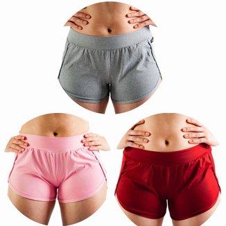 Kit 3 Shorts Estilo do Corpo Fitness Feminino