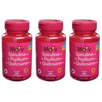 Kit 3 SPIRULINA + PSYLLIUM + QUITOSANA MOOV 60 comprimidos