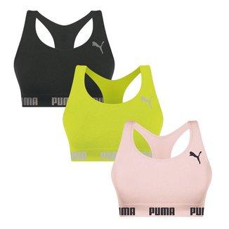 Kit 3 Tops Puma Nadador Sem Costura - Preto, Limã