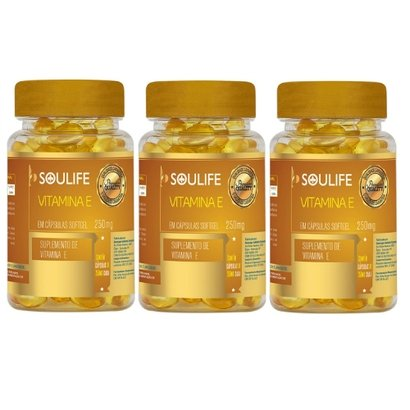 Kit 3 Vitamina E 250mg 120 Cáps Soulife