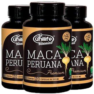 Kit 3 X Maca Peruana Premium 120 Cápsulas Unilife