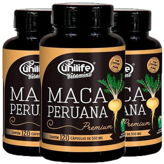 Kit 3 X Maca Peruana Premium 120 Cápsulas Unilife -