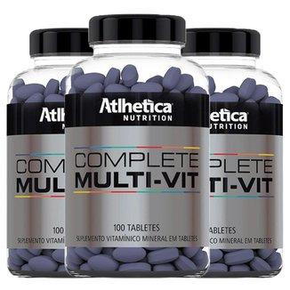 Kit 3 x Multivitamínico Complete   Athletica 100 Tabletes