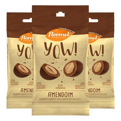Kit 3 Yow Flormel Amendoim 40g
