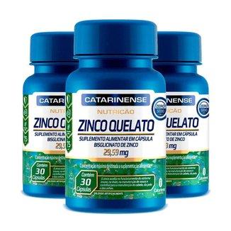 Kit 3 Zinco Quelato Concentrado - 30 Cápsulas - Catarinense