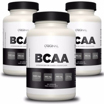 Kit 3x Bcaa 120 Cáps – Original Nutrition – 360 Cápsulas